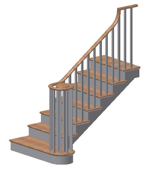 Handrail configuration, post to post handrail, post to post without easing, post to post with easing, handrail to newel post, continuous handrail