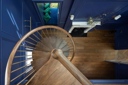Spiral Strairs, Brass balusters, brass spindles, contemporary stairs